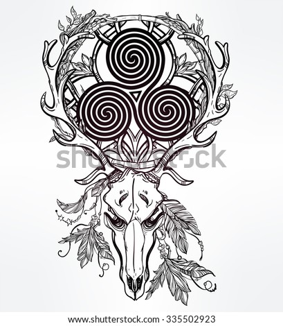 Beautiful scull tattoo art. Vintage deer skull pagan style. Antlers with Celtic triskel sign in them. Hand drawn outline work. Isolated vector illustration. - stock vector