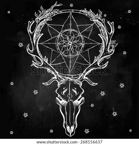 Beautiful scull tattoo line art. Vintage deer, bull, elk, horns. Antlers with branches, leaves and ornate dream catcher with stars. Hand drawn. Vector illustration. Isolated. Chalk on chalkboard. - stock vector