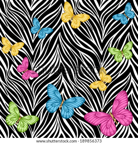Beautiful seamless background. butterflies on animal zebra abstract print. Perfect for  greeting cards and invitations of the wedding, birthday, mother's Day. Many similarities to the author's profile - stock vector