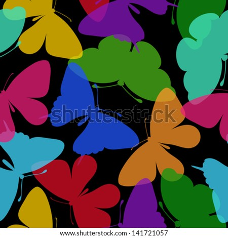 Beautiful seamless background of butterflies. Many similarities in the profile of the artist - stock vector