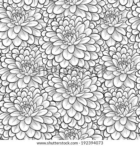 Beautiful seamless background with monochrome black and white flowers. Hand-drawn contour lines and strokes. . Perfect for greeting cards and invitations of the wedding, birthday, mother's Day - stock vector