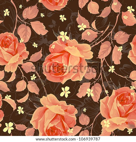 Beautiful Seamless background with vintage style roses on dark background. Elegance floral vector illustration. - stock vector