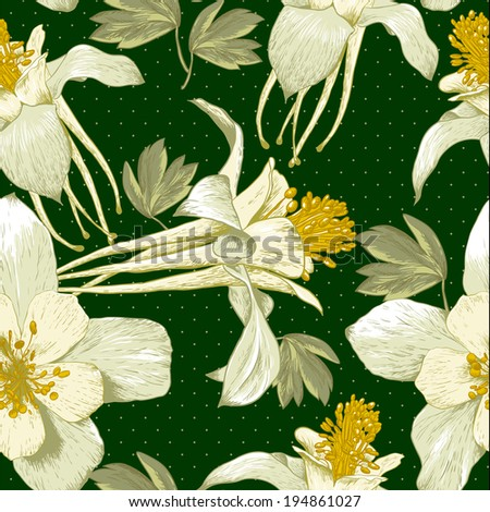Beautiful Seamless Floral Background with White Blooming Flowers - stock vector