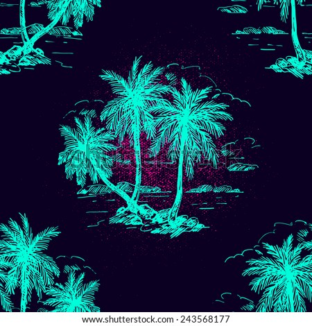 Beautiful seamless floral pattern background. Landscape with palm trees - stock vector