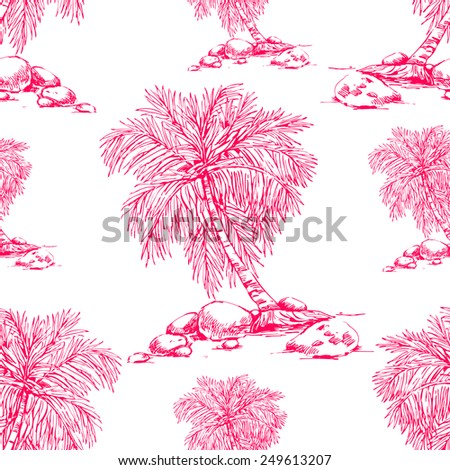 Beautiful seamless floral pattern background. Palm trees - stock vector