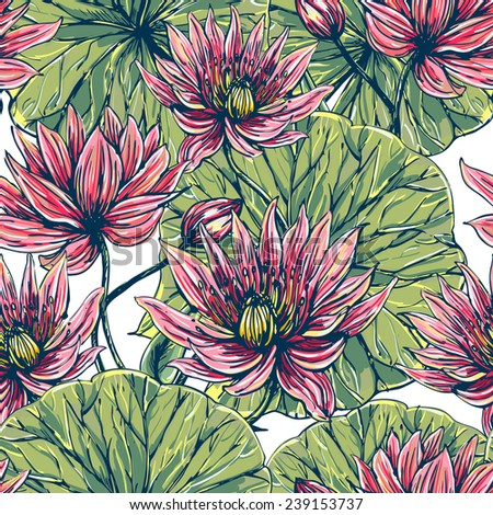 Beautiful seamless floral pattern background. Tropical flowers and leaves, pink lotus - stock vector