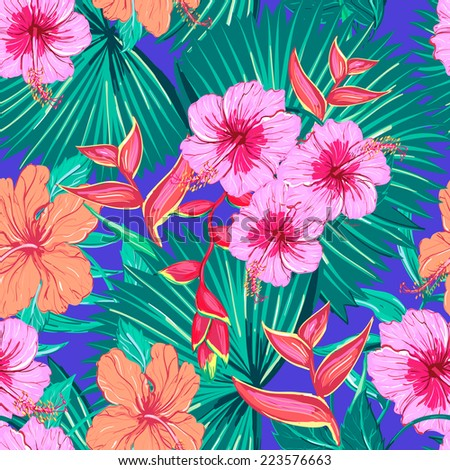 Beautiful seamless floral pattern background. Tropical flowers and plants, hibiscus - stock vector