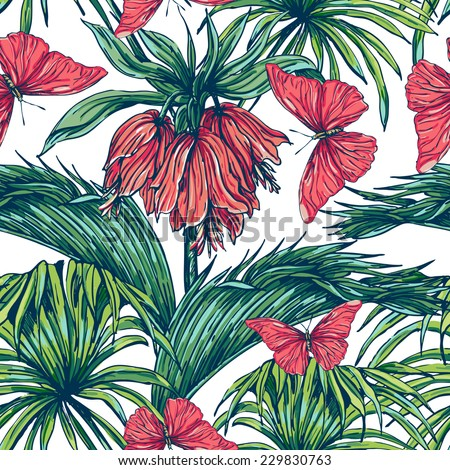 Beautiful seamless floral pattern background. Tropical flowers and plants with butterflies - stock vector