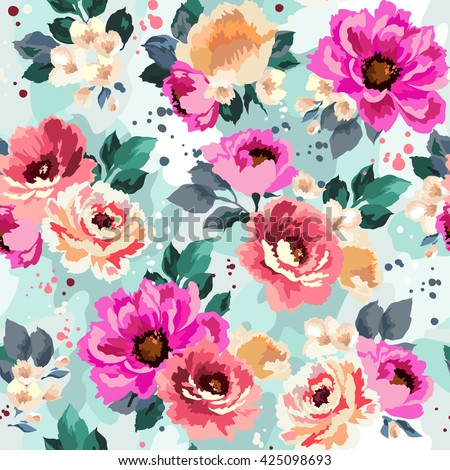 Beautiful seamless floral pattern with watercolor effect. Flower vector illustration - stock vector