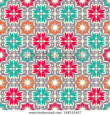 Beautiful seamless ornamental tile background vector illustration - stock vector