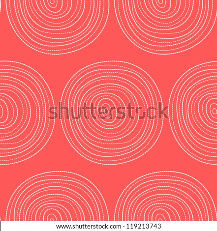 Beautiful seamless pattern with dotted circles. Vector Illustration. Red background with hand drawn circles. - stock vector