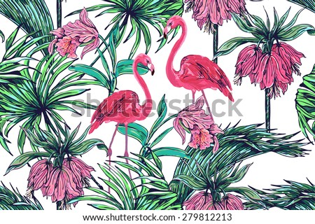 Beautiful seamless vector floral jungle pattern background. Pink flamingos, tropical flowers, palm leaves and plants - stock vector