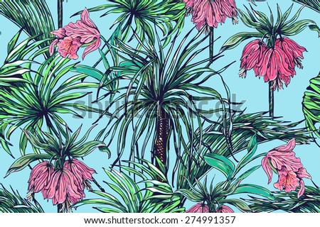 Beautiful seamless vector floral jungle pattern background. Tropical flowers, palm tree, leaves and plants - stock vector