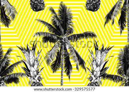 Beautiful seamless vector floral tropical jungle pattern background with palm trees and pineapples, abstract striped geometric pattern - stock vector