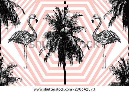 Beautiful seamless vector floral tropical jungle pattern background with palm trees and watercolor pink flamingos, abstract stripped geometric pattern - stock vector