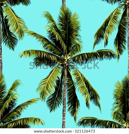 Beautiful seamless vector floral tropical pattern background with palm trees - stock vector