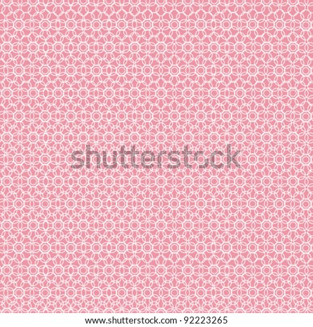 Beautiful seamless vector pattern with white lace on pink background - stock vector
