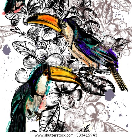 Beautiful seamless wallpaper pattern with tropical flowers and toucan birds - stock vector