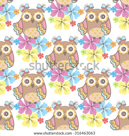 Beautiful seamless wallpaper with owls and flowers on a white background - stock vector