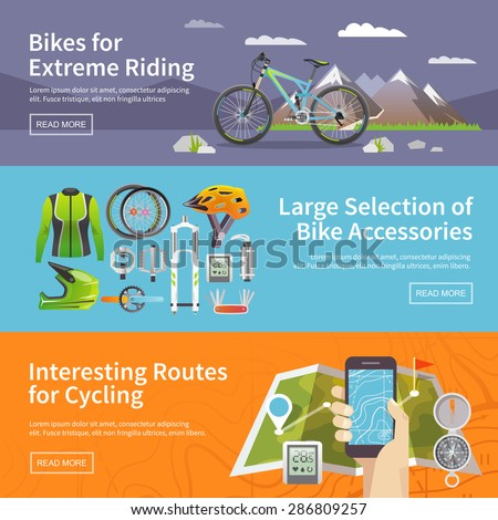 Beautiful set of colorful flat vector banners on the theme: mountain biking, bike store, routes for cycling. All items are created with love especially for your amazing projects. - stock vector