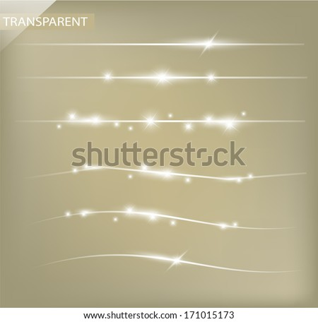 Beautiful set of decorative dividing sparkling lines with transparency VECTOR - stock vector
