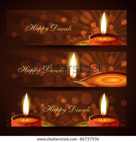 beautiful set of diwali headers - stock vector