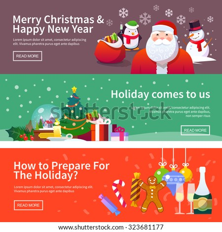 Beautiful set of flat vector banners on the theme of Christmas and New year. Christmas decorations, Christmas tree, sweets, Santa, snowman, wreath, snow, holiday, Christmas eve. Modern flat design. - stock vector