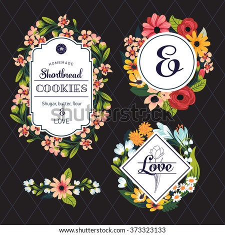 Beautiful set of floral vintage style badges and labels. Vector collection of flower frames made of pink and white blossoms, roses, asters, dandelions, bellflowers, camomile on black background - stock vector