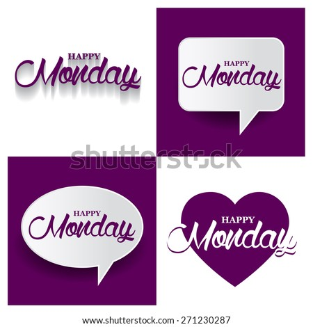 Beautiful set of Happy Monday Hand lettering handmade vector calligraphy purple background set. vector call out Happy Monday letter. heart shape Happy Monday text - stock vector