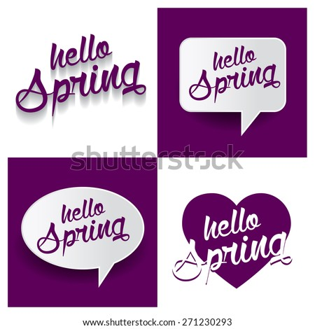 Beautiful set of Hello Spring Hand lettering handmade vector calligraphy purple background set. vector call out Hello Spring letter. heart shape Hello Spring text - stock vector
