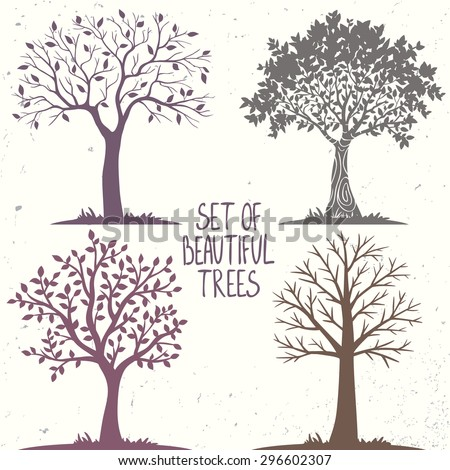 Beautiful set of silhouette amazing trees for design. Vector illustration - stock vector