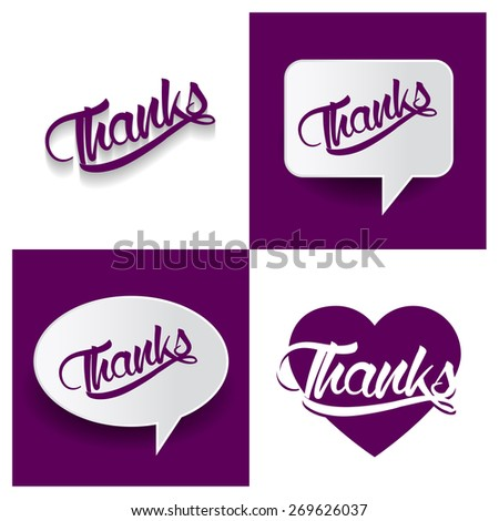 Beautiful set of Thanks Hand lettering handmade vector calligraphy purple background set. vector call out thanks letter. heart shape love thanks text - stock vector