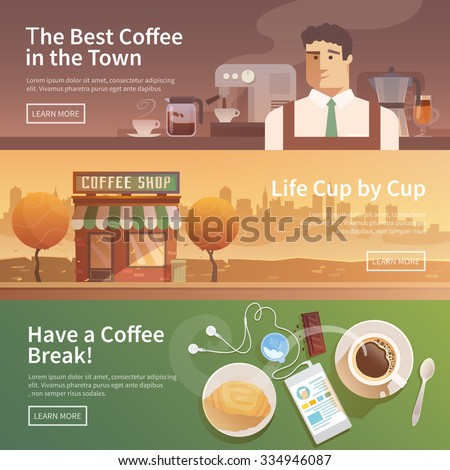 Beautiful set of vector banners for your projects. Coffee, coffee drinks.City, cityscape, landscape. Couple, a date. Evening. Cafe, coffee shop. Coffee house. Barista. Flat design. - stock vector