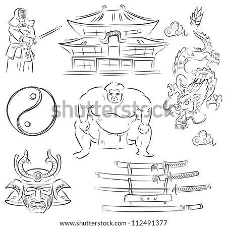 Beautiful Set of vector sketches of symbols of Japanese culture - stock vector