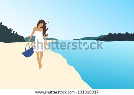 Beautiful sexy blonde girl walking on the beach - stock vector