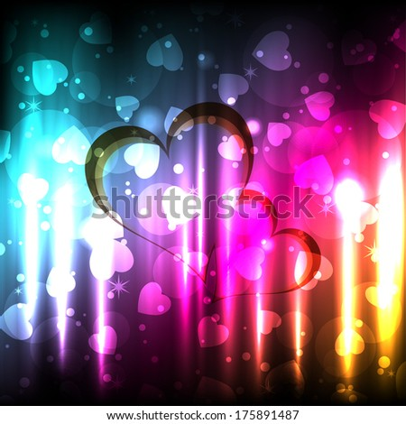 Beautiful shiny Background With heart And bubble. Vector EPS 10 illustration. - stock vector