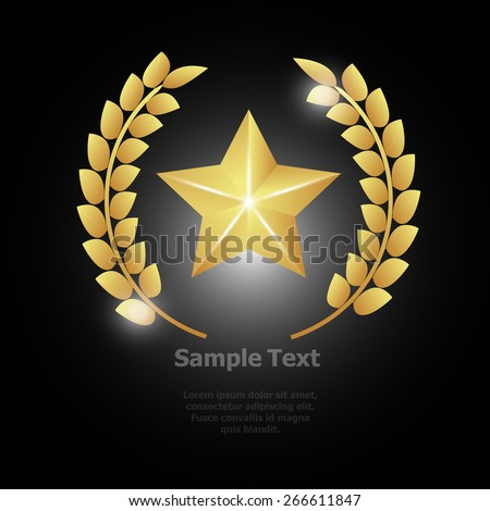 beautiful shiny golden winner label design  - stock vector