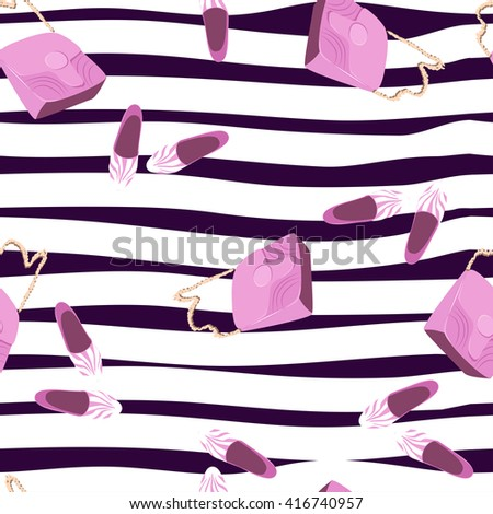 Beautiful shoes and handbags seamless pattern on a striped background. Summer Fashion seamless pattern. Vector hand drawing background, vacation, travel design template, illustration, wallpaper - stock vector