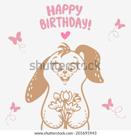 beautiful silhouette cute and funny cartoon bunny with a bouquet of flowers - stock vector