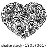 beautiful silhouette of the heart of lace flowers, tendrils and leaves. Isolated on white. Many similarities to the author's profile - stock vector
