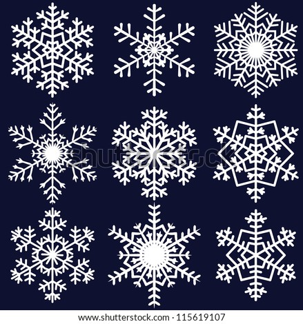 Beautiful snowflakes set for christmas winter design - stock vector