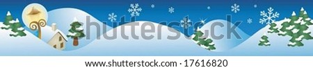 Beautiful Snowy Landscape Banner with cute country house on background with bright blue sky and peaceful white snow scene : vector illustration - stock vector