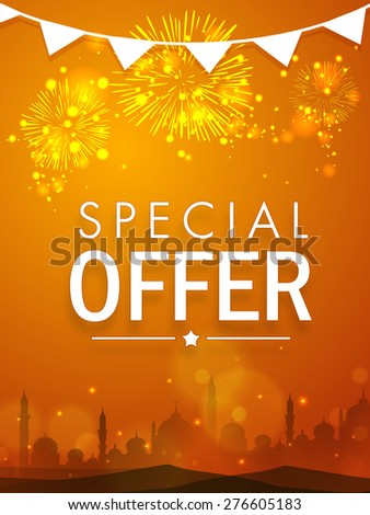 Beautiful special offer sale poster, banner or flyer decorated with shiny fireworks and mosque silhouette for Muslim community festival, Eid celebration. - stock vector