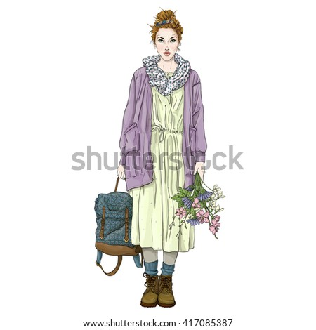 Beautiful spring flowers tulip fashion daisy cornflower blooming cherry blossoms girl woman young - stock vector