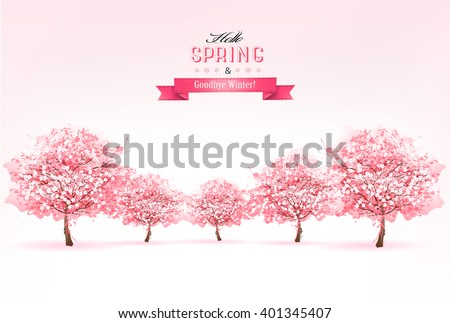 Beautiful spring nature background with trees. Vector. - stock vector
