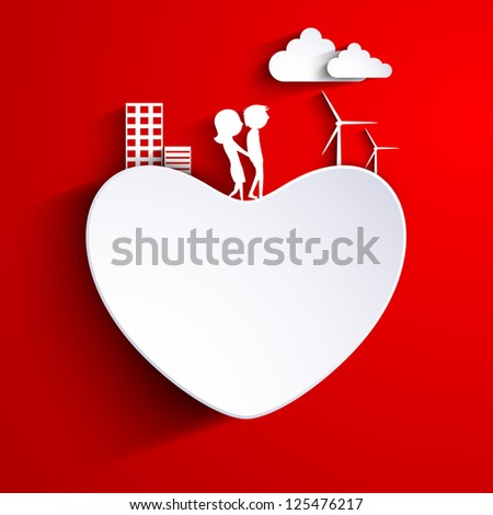 Beautiful St. Valentine's Day background, gift or greeting card decorated with paper heart. cute couples and urban city on red. EPS 10. - stock vector