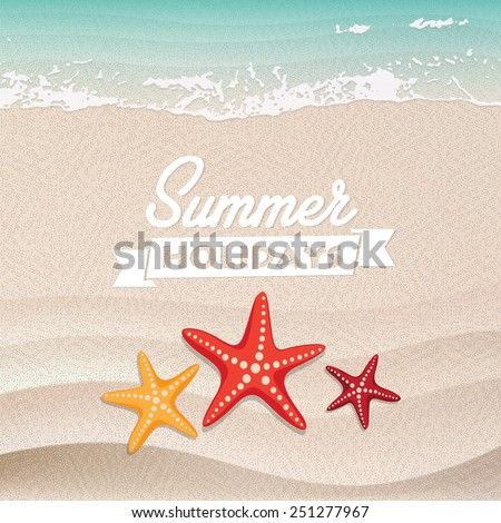 Beautiful starfish on the beach. Sand and wave as background for summer design. Vector illustration. Summer holidays. - stock vector