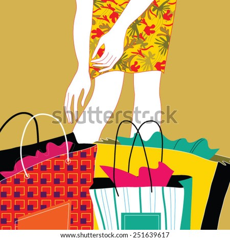 Beautiful stylish woman pulling shopping bags - stock vector