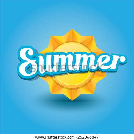 beautiful summer illustrations . vector summer label. summer icon with sun. Stylized design element. Background design for banner, poster, flyer, cover, brochure. Logo design. - stock vector