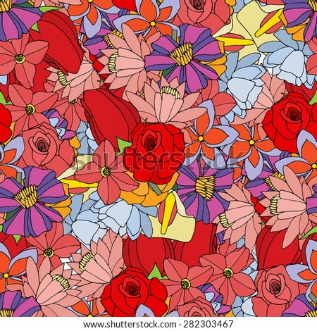 Beautiful summer ornate from many flowers, seamless pattern. Vector illustration, drawn doodle - stock vector